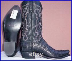 Lucchese, Black Horn Back Caiman Tail Cowboy Boots, Style# N1152, Size (10 D)