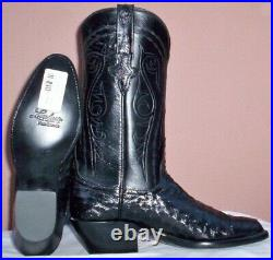 Lucchese Classics, Black FQ Ostrich Cowboy Boots, Style# GB4692 Size (8.5 B)