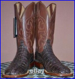 Lucchese Haan, Barrel Brown HBC Crocodile Tail Cowboy Boots, Size (9.5 D)