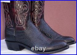 Lucchese Nathan, Blk Smooth Ostrich Cowboy Boots, Style# N1150, Size (8 D)