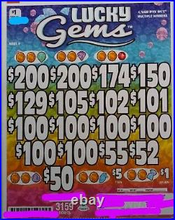 Lucky Gems' Pull Tab Tickets $921 Profit 3159 Tickets Free Shipping