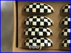 Mackenzie Childs Courtly Check Magnet+Hand Painted Cast Iron CUP Drawer Pull(12)