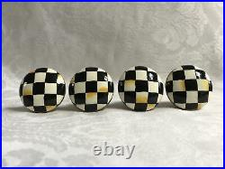 Mackenzie Childs Courtly Check Magnet+Hand Painted STONE Drawer Pulls/Knobs (4)
