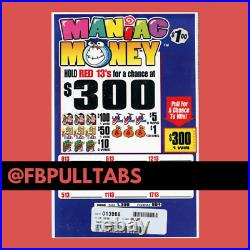 Maniac Money One Dollar Pull Tab Game 1300 Pull Tabs 300 Profit Fundraiser