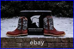Men's Rodeo Cowboy Western Work Boots SADDLE Leather Camouflage Oak Invictus