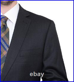 Mens 56L Mens Classic Fit Black Check Two Button High Twist Wool Suit