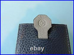 Montegrappa Italian Blue Grey Leather Business Credit Card Case with Pull Tab