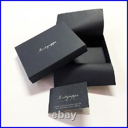 Montegrappa Top Italian Black Leather Holder Business Credit Card Case Pull Tab