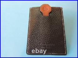 Montegrappa Top Italian Leather Business Credit Card Case Brown Pull Tab Mint