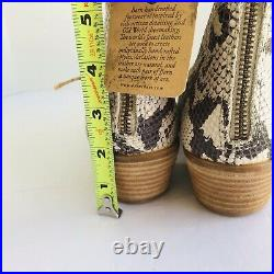 NEW Born Wynd Leather Snake Print Western Stacked Block Heel Booties 9M