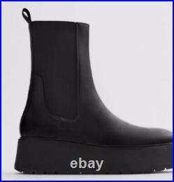 NEW ZARA black leather Chunky Wedge platform ankle boots Sold Out New In Box 7