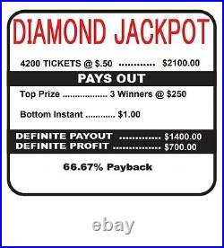 NEW pre tips pull tickets. 50c DIAMOND JACKPOT Instant Tabs. 50c