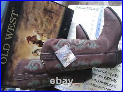 NIB NEW Old West Cowboy Boots Mens Pointed Pull Tabs Leather Red Brown 5501