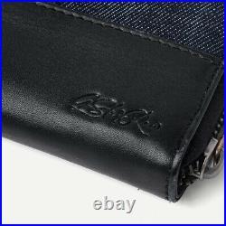 NWT G-Star Raw Women's Mica Small Pull Tab Zip Wallet Raw Denim Dark Black