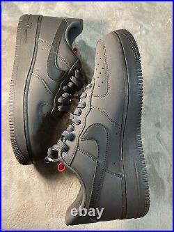 Nike Air Force 1 Low Black /Red Pull Tab /Grey Anthracite BQ4326-001 Men's sz 9