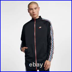 Nike MEN'S Sportswear Taped Track Jacket SIZE LARGE BRAND NEW Black Red Pull Tab