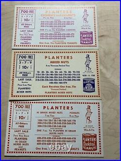 Planters Mixed Nuts Peanuts Punchboard Pulltab Header Card Asst. NOS