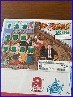 Popeye 5 Window Pull Tab 3200 Tickets Free Ship USA 48