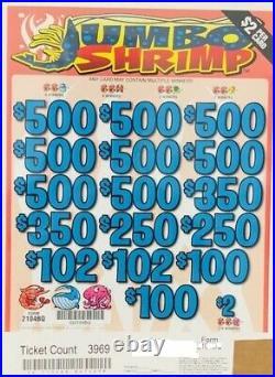 Pull Tab $2 Ticket JUMBO SHRIMP -$1782.00 HUGE $$ PROFIT FREE Shipping