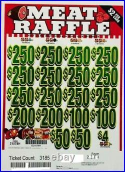 Pull Tab $2 Ticket MEAT RAFFLE -$1550.00 HUGE $$ PROFIT FREE Shipping