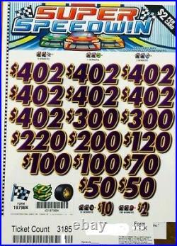 Pull Tab $2 Ticket SUPER SPEEDWIN -$1566.00 HUGE $$ PROFIT FREE Shipping