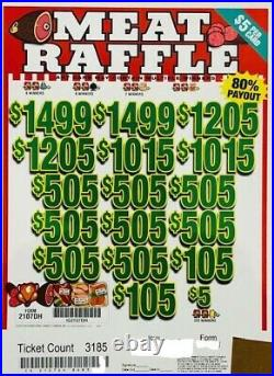 Pull Tab $5 Ticket MEAT RAFFLE $3127 GIANT $$ PROFIT FREE Shipping