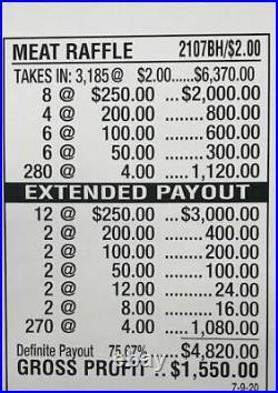 Pull Tab Ticket 2.00 Break Open MEAT RAFFLE 3185ct FREE Shipping