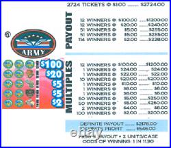 Pull Tab Ticket ARMY -$546.00 PROFIT FREE QUICK Shipping