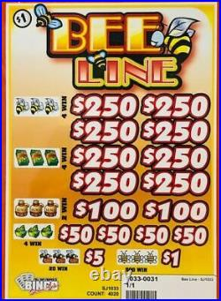 Pull Tab Ticket BEE LINE -$1020.00 HUGE $$ PROFIT FREE Shipping