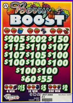 Pull Tab Ticket BERRY BOOST -$908.00 HUGE $$ PROFIT FREE Shipping