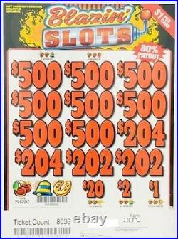 Pull Tab Ticket BLAZIN SLOTS -$1568.00 HUGE $$ PROFIT FREE Shipping