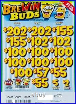 Pull Tab Ticket BREWIN BUDS -$992.00 PROFIT FREE QUICK Shipping