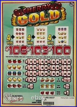 Pull Tab Ticket CHERRY GOLD -$1040.00 HUGE $$ PROFIT FREE Shipping
