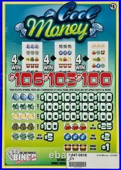 Pull Tab Ticket COOL MONEY $1040.00 HUGE $$ PROFIT FREE Shipping
