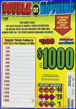 Pull Tab Ticket DOUBLE OR NOTHING 1890ct $500.00 PROFIT FREE SHIPPING