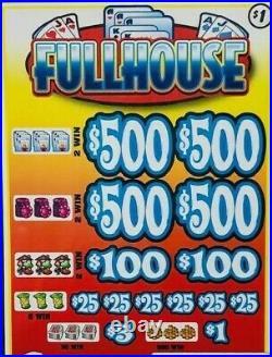 Pull Tab Ticket FULLHOUSE -$1020 BIG$-$PROFIT FREE SHIPPING