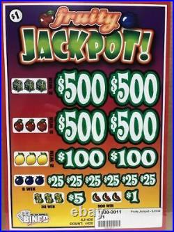 Pull Tab Ticket Fruity JACKPOT -$1020 BIG$-$PROFIT FREE SHIPPING