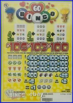 Pull Tab Ticket GO BINGO -$1040.00 HUGE $$ PROFIT FREE Shipping