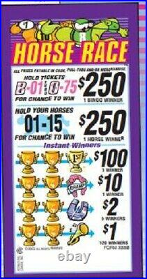 Pull Tab Ticket HORSE RACE 980ct GOOD PROFIT! FREE SHIPPING