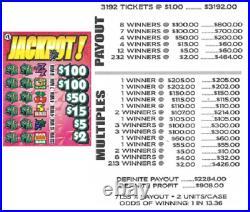 Pull Tab Ticket JACKPOT -$908.00 HUGE $$ PROFIT FREE Shipping
