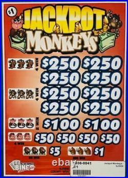 Pull Tab Ticket JACKPOT MONKEY -$1020.00 HUGE $$ PROFIT FREE Shipping