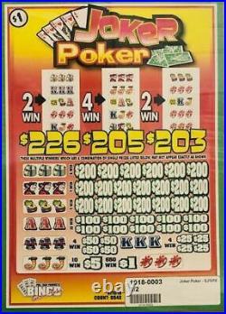 Pull Tab Ticket JOKER POKER -$2040.00 HUGE PROFIT-FREE SHIPPING