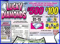 Pull Tab Ticket LUCKY DIAMONDS 1470ct- FREE SHIPPING