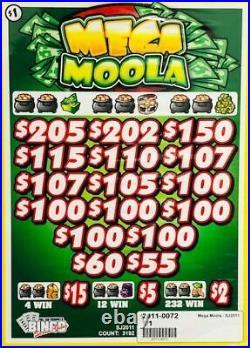 Pull Tab Ticket MEGA MOOLA -$908.00 HUGE $$ PROFIT FREE Shipping