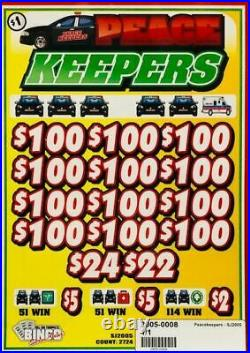 Pull Tab Ticket PEACE KEEPERS -$546.00 PROFIT FREE QUICK Shipping