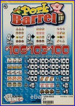 Pull Tab Ticket PORK BARREL -$1040.00 HUGE $$ PROFIT FREE Shipping