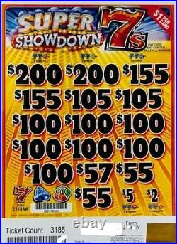 Pull Tab Ticket SUPER SHOWDOWN 7'S -$922.00 HUGE $$ PROFIT FREE Shipping