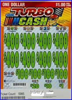 Pull Tab Ticket TURBO CASH $1263.00 HUGE PROFIT FREE SHIPPING