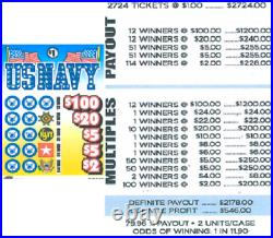 Pull Tab Ticket US NAVY -$546.00 PROFIT FREE QUICK Shipping