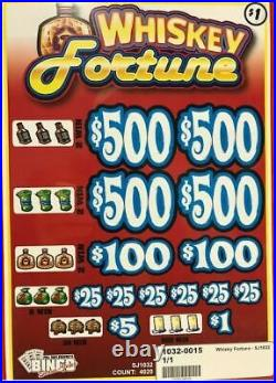 Pull Tab Ticket WHISKEY FORTUNE -$1020 BIG$-$PROFIT FREE SHIPPING